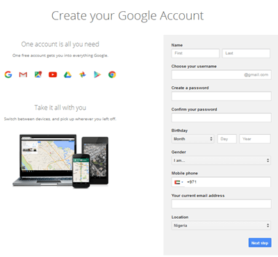 full gmail form page