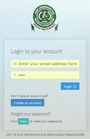 JAMB login page