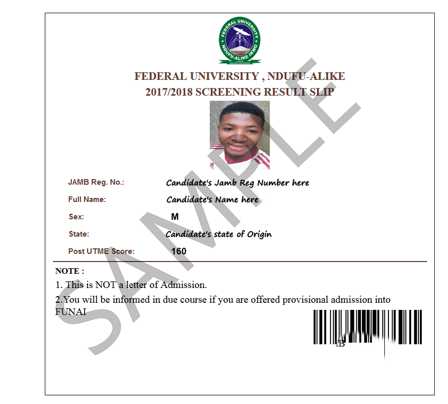 funai post utme result sample