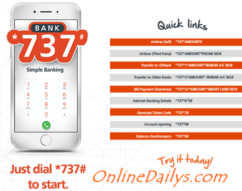 GTB USSD Codes For All Transfer: GTbank *737# Codes - ONLINE