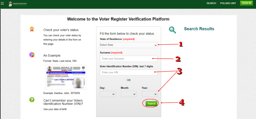 Sample page Check Your Permanent Voters Card Registration Status