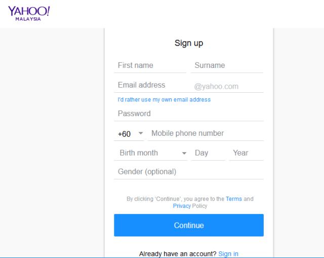 Yahoomail malaysia form