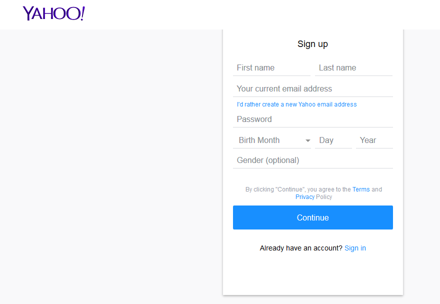 flickr account sign up form