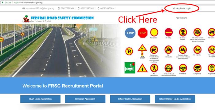 FRSC Recruitment Login Portal