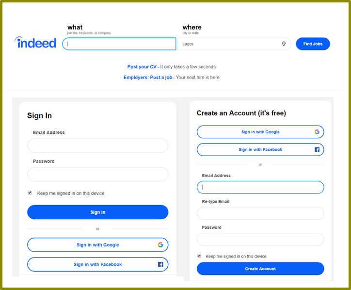 Indeed Vacancies Login Page | Create New Indeed com Account