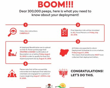 Npower Nigeria Latest Deployment Update - 300,000 Persons To Be Deployed