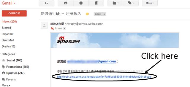 Sina email verification