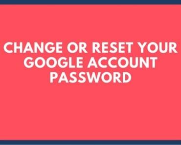 How To Change/Reset Google Account Password