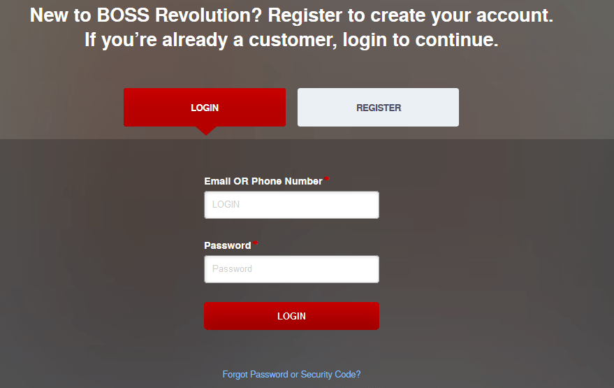 Sample of BOSS Revolution Account Login Form