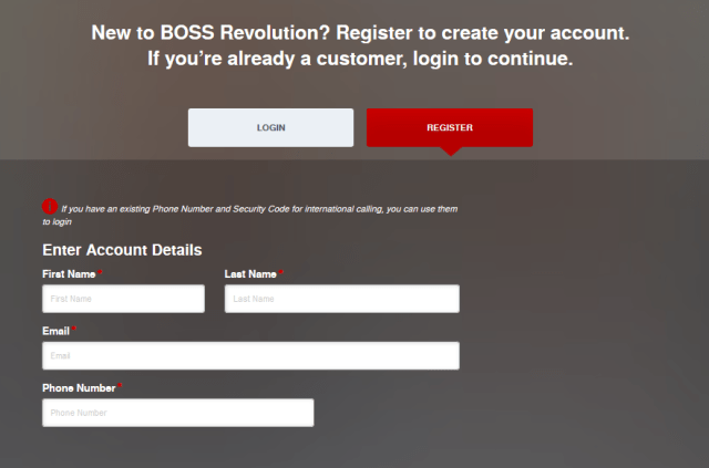 BOSS Revolution New Account Registration form -Phase one