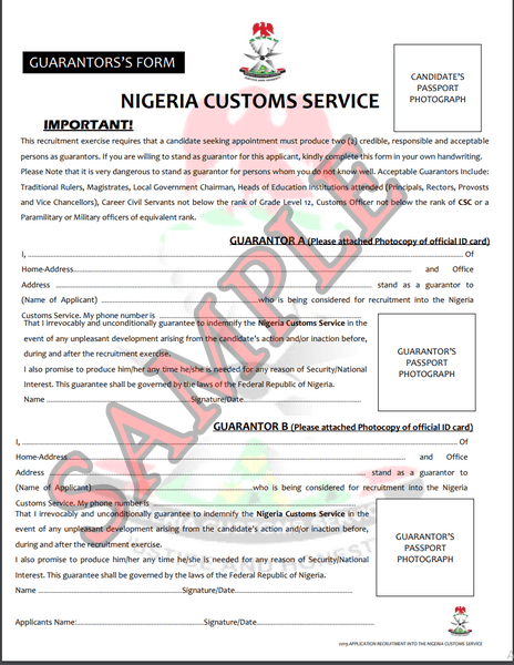 Nigeria Custom service Guarantor form sample