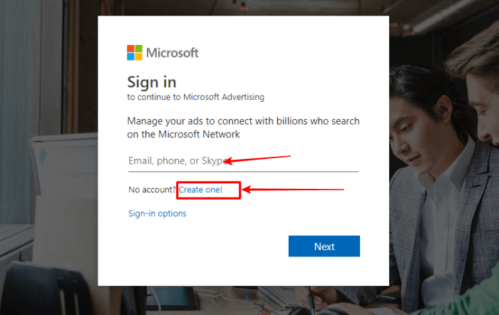Microsoft account login image