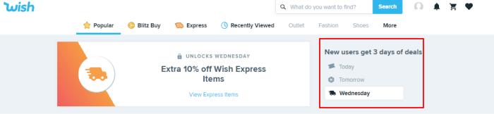 Wish 3 days deals image