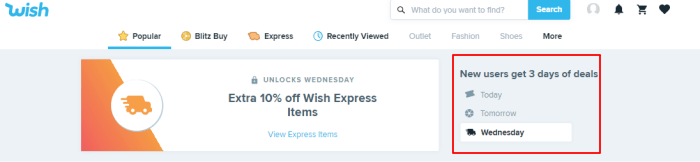 Wish 3 days deals image