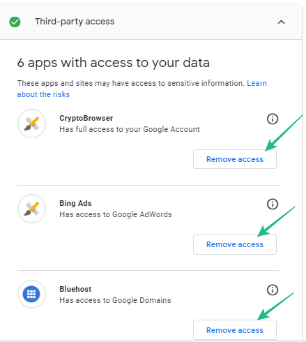 How to Remove risky Third-party access to your data On Google Account 1
