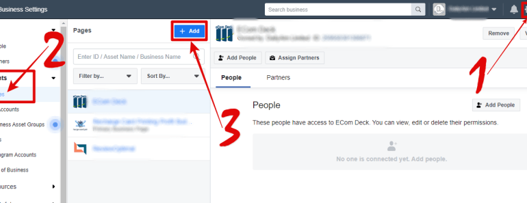 Facebook business manager add page image
