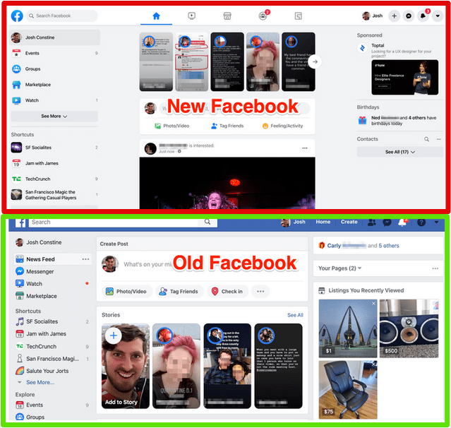 new and old facebook look image