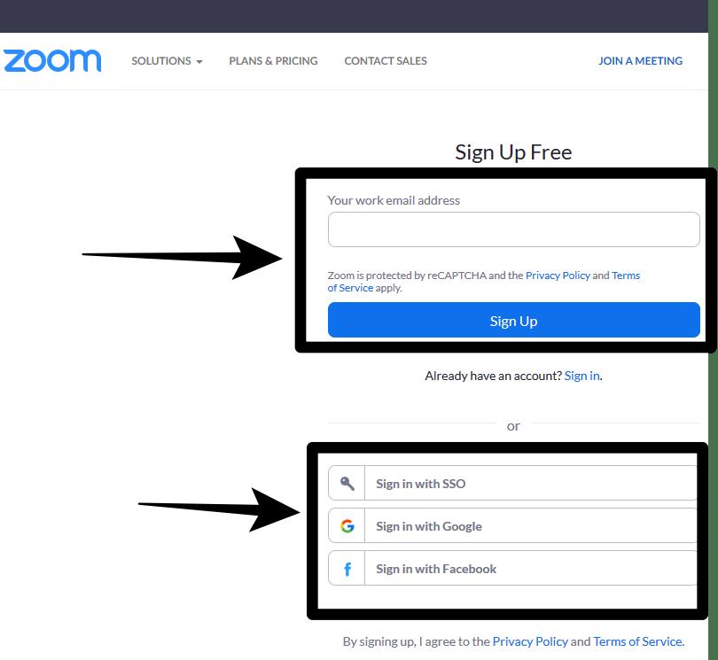 Zoom Online Video Conferencing sign up form