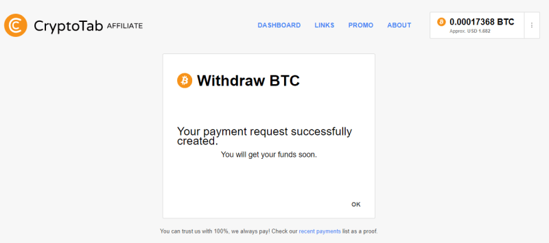How to Withdraw from CryptoTab BTC Mining Balance 1