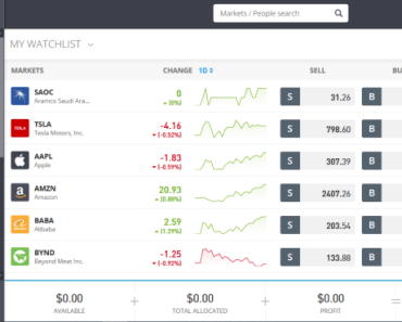 eToro trading account image