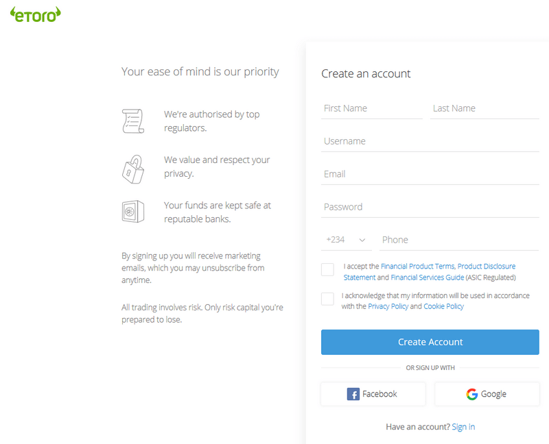 eToro Trading Account Review | eToro Sign Up - Sign in Trading Page 1
