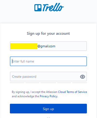 Trello sign up form 3
