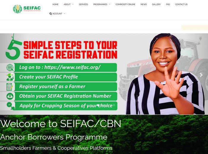 SEIFAC/CBN Anchor Borrowers Programme Registration Portal | SEIFAC login Page