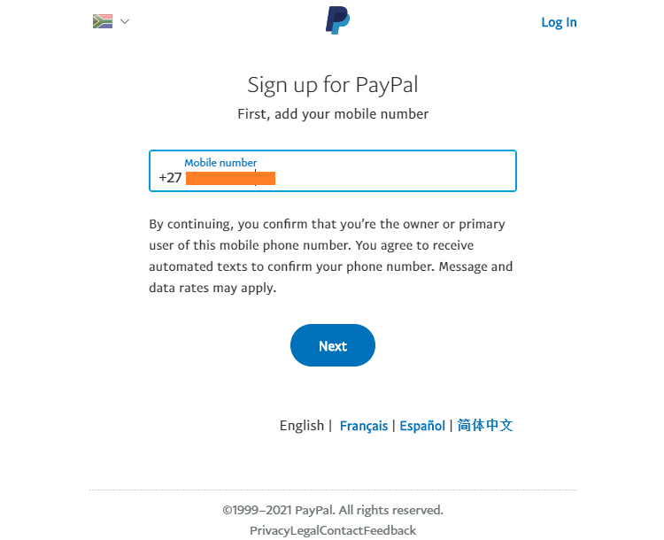 PayPal SA sign up form phone number page-image