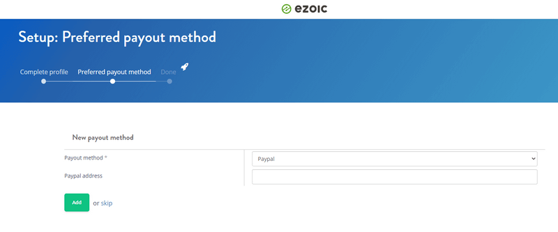 ezoic payment option selection image