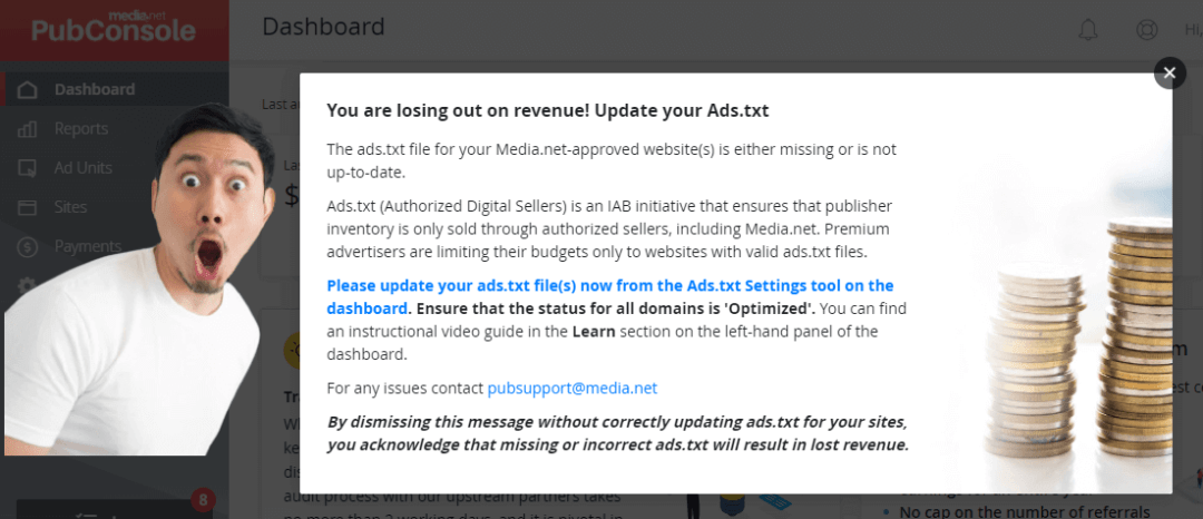 media.net homepage for ads.txt file notification image