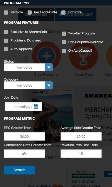 advanced search option - ShareASale affiliate program