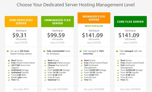 A2 Hosting Dedicated Server Hosting Plans