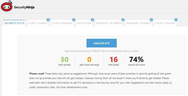 Security Ninja test result