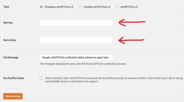 Adding site key and secrey key to reCAPTCHA settings