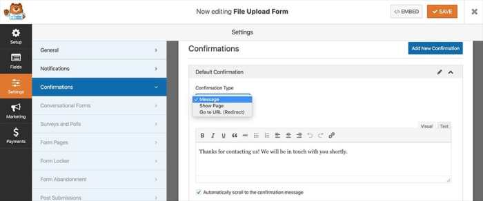 Configure File Upload Form Confirmations
