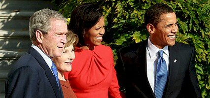 Obamas and Bushes at the White House