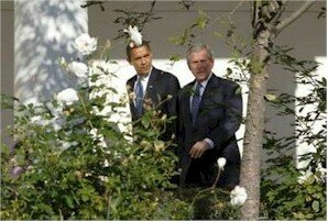 Barack Obama and George Bush in the garden