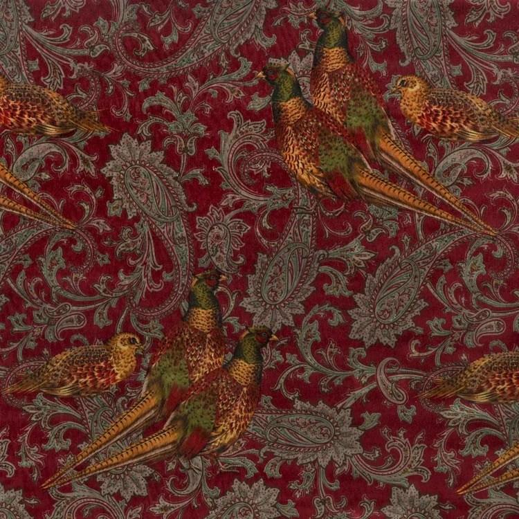 Red Animal Print Wallpaper Ralph Lauren Hunting Manor Paisley Port Fabric