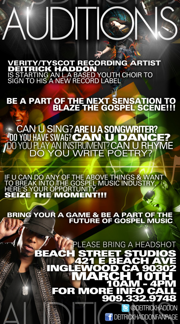 Hey Blessed and Talented Youth Of Los Angeles! Want To Sing In Deitrick Haddon's Choir?