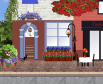 house with flower decors