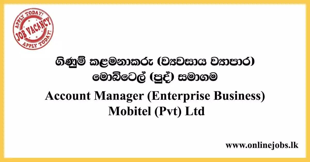 Account Manager (Enterprise Business) - Mobitel Vacancies 2020