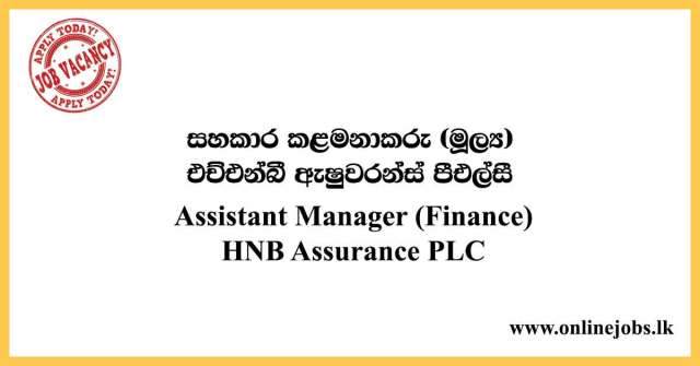 Assistant Manager (Finance) Job at HNB Assurance PLC 2020