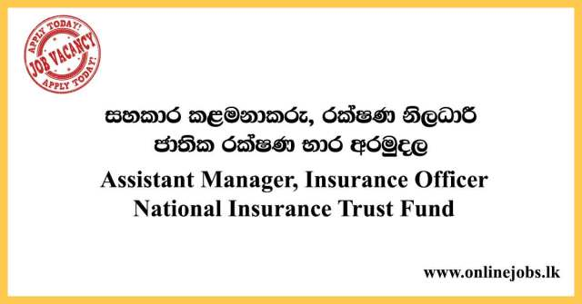 Assistant Manager, Insurance Officer - National Insurance Trust Fund 2020