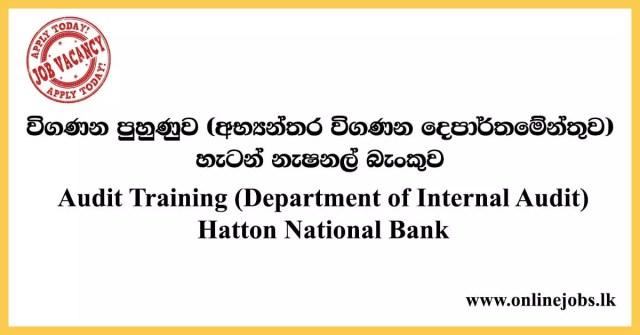 Audit Training (Department of Internal Audit) Hatton National Bank