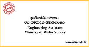 Engineering Assistant - Ministry of Water Supply Vacancies 2020