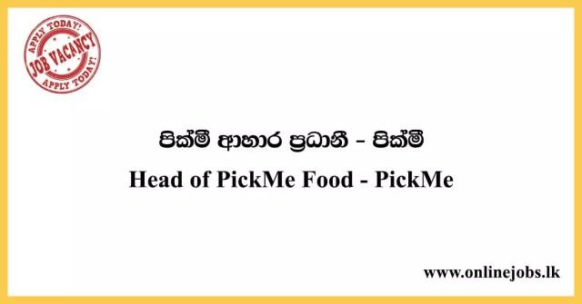 Head of PickMe Food - PickMe