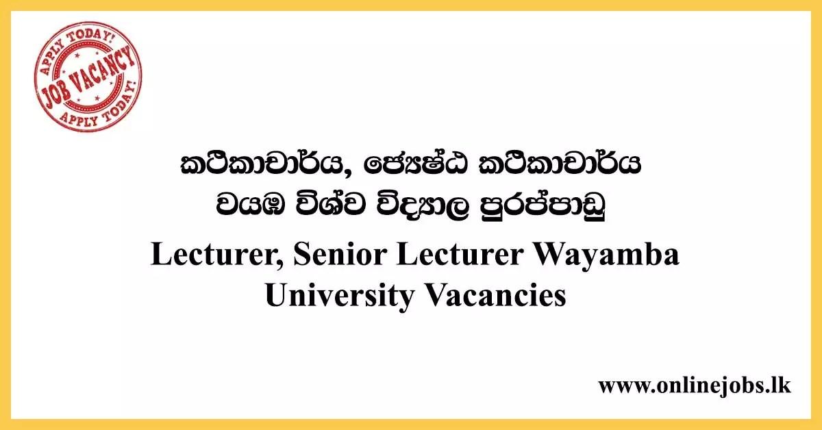 Lecturer, Senior Lecturer Wayamba University Vacancies