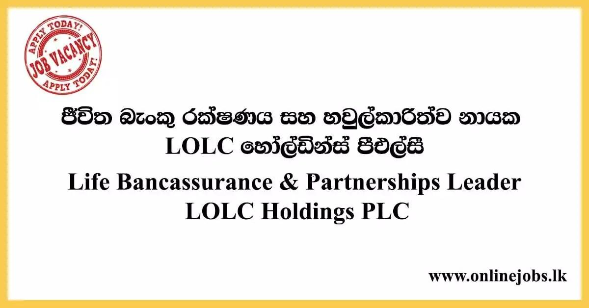 Life Bancassurance & Partnerships Leader - LOLC Vacancies 2020
