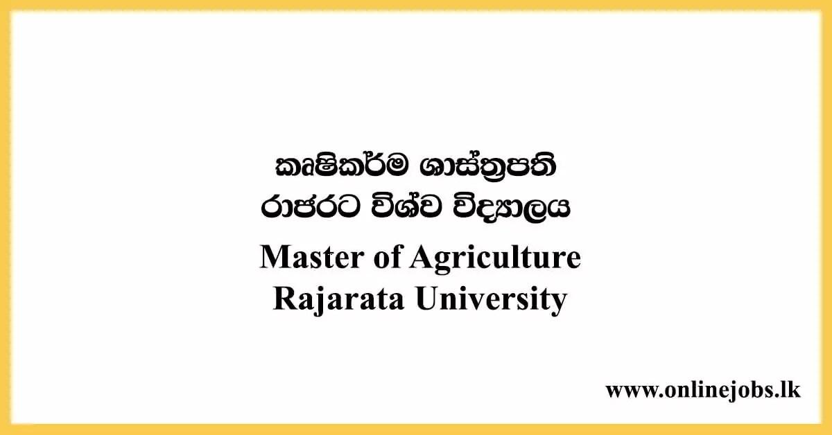 Master of Agriculture - Rajarata University Courses