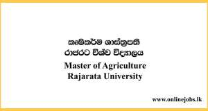 Master of Agriculture - Rajarata University Courses